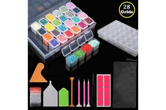 (28 Slots) - 2Pack 28 Slots Diamond Painting Storage Containers Portable Plastic Bead Storage Box with Diamond Painting Tools and Accessories Kit Apply to Full Drill & Partial Drill 5D Diamond Painting