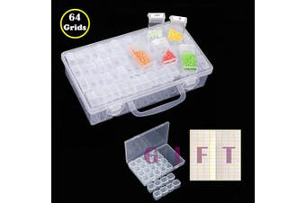 (64 Slots) - 64 Grids Diamond Painting Drill Storage Container, Beads Organiser Storage Case with 28 grids Plastic Box and Label (64 Slots)