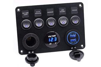 (5 Gang Toggle Switch Panel-Blue) - Cllena Dual USB Socket Charger 2.1A & 2.1A + LED Voltmeter + 12V Power Outlet + 5 Gang ON-Off Toggle Switch Multi-Functions Panel for Car Marine Boat RV Truck Camper Vehicles (Blue)