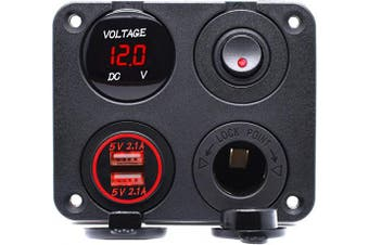 (Four Functions Panel 1-Red) - Cllena Dual USB Charger Socket 4.2A + 12V Power Outlet + LED Voltmeter + ON-Off Toggle Switch 4 in 1 Multi-Functions Panel for Car Marine Boat Truck Rv ATV UTV Golf Cart Camper (Red)