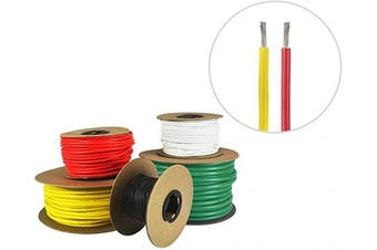 (9.1m (Spooled), Red & Yellow) - 16 AWG Marine Wire - Tinned Copper Primary Boat Cable - Available in Black, Red, Yellow, Green, and White - Made in The USA