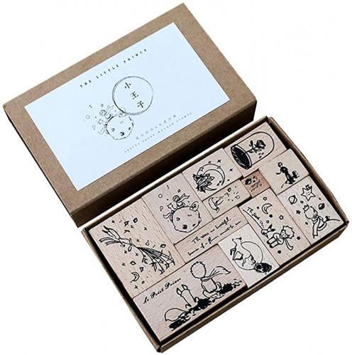 12pcs Little Princess Stamps Set The Little Prince Doraking Vintage Decorative Wooden Rubber Scrapbook Stamps Set for Diary Planner Scrapbook Decoration