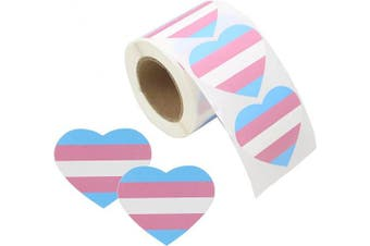 (Heart Transgender) - Love Pride Stickers Heart Shaped Roll Tape 250 Stickers Gay Pride Support LGBT (Heart - Transgender)