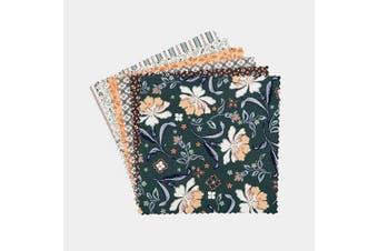 (Blue Ridge Mountain) - Connecting Threads Print Collection Precut Cotton Quilting Fabric Bundle 13cm Charm Squares (Blue Ridge Mountain)