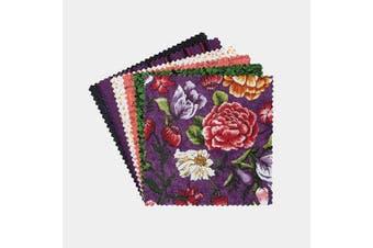 (Celeste) - Connecting Threads Print Collection Precut Cotton Quilting Fabric Bundle 13cm Charm Squares (Celeste)