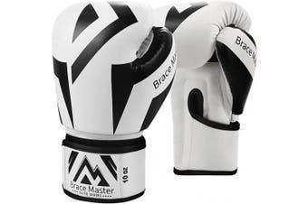 (350ml, Box White) - Brace Master Boxing Gloves Series of DG 2.0 Heavy Bag Gloves Sparring Gloves for Men Women, Suit for MMA Boxing Kickboxing Sparring & Training