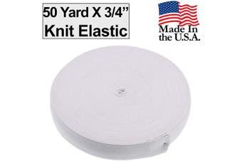 (1.9cm  - 50 Yard, White) - Barcelonetta | 50 Yard X 1.9cm Inch | Sewing Elastic | Elastic Band Cord | Knit Roll, Stretch, Craft Elastan | Made in USA (White)