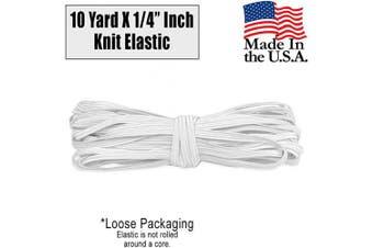 (Quarter Inch - 10 Yard, White) - Barcelonetta | 10 Yard X 0.6cm Inch | Sewing Elastic | Elastic Band Cord | Knit Roll, Stretch, Craft Elastan | Made in USA, Loose Packaging (White)