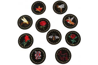 (10pcs Badge) - ARTEM Embroidered Badge Patch Iron On/Sew On Patch Bird Bee Snake Rose Deer Patches Cloth Emblem Cloth Cap Accessories Manual DIY Accessories Applique(10 PCS)
