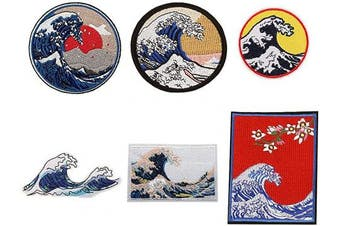 (10pcs wave) - The Great Wave Off Kanagawa Patches Wave Iron on Badges 6 Pcs Sew on Appliques Embroidered Stickers Set with Back Adhesive Big Wave Sunrise Flowers Design for DIY Jackets,Backpack,T-Shirt,Jeans,Caps