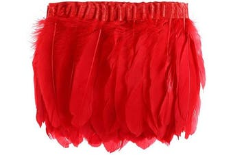(Red) - AWAYTR Duck Goose Feather Trim Fringe 2 Yards (Red)