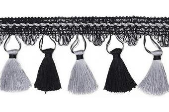 (Black) - BEL AVENIR Tassel Fringe Trim 6.8 Yard x 9cm Luxury Hand Knitting Tassel Fringing Trimmings (Black)