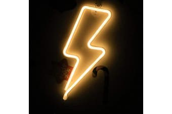 (Lightning) - Lightning Neon Sign, Battery Operated or USB Powered LED Neon Light for Party, Home Decoration Lamp, Table & Wall Decoration Light, Christmas Light and Kids Gift