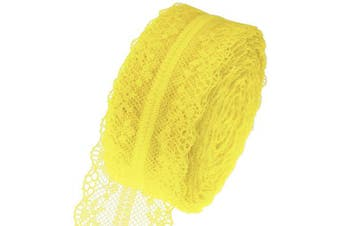(Yellow) - ATRibbons 25 Yards 3.8cm Wide Floral Pattern Lace Trim Roll Colourful Lace Fabric Ribbon for Sewing Making,Gift Wrapping and Floral Decoration (Yellow)