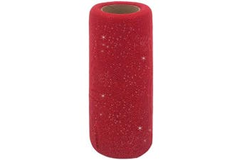 (Red) - Glitter Tulle Fabric Ribbon Rolls, 15cm by 25 Yards (23m) Glitter Sparkle Tulle Spool (Red)