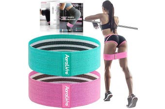 (37cm , Begginer-Turquoise/Pink) - Aoralivre Fabric Resistance Bands for Legs/Butt/Glute/Squats Stretch Workout Exercise Booty Bands for Women Indoor Fitness (Set 2)