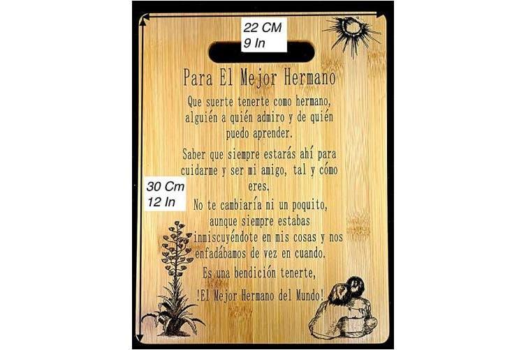 """(Hermano) - Regalo para Hermano: Tabla de cortar de bambú grabada (22 x 30 cm) Gift for Brother-Engraved bamboo cutting board 9""""x12"""""""