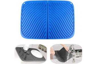(Blue) - IYYI Silicone Dish Drying Mat Large Draining Mat Eco-Friendly Drainer Mat Heat Resistant Pot Mat Dishwasher Safe Trivet (Blue)
