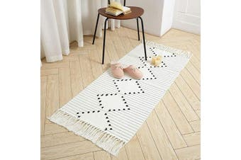(0.6m x 1.3m, Geometric) - Boho Woven Rug Runner Fringe Area Rug for Bedroom Floor, Cotton Small Rug Hand Knit Tassels Throw Rug Washable for Kitchen Laundry Room Bathroom Doorway Decor, 1.3mx0.6m Beige Chic Geometric Pattern
