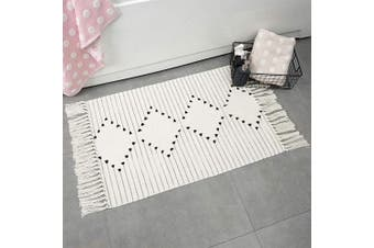 (0.6m x 0.9m, Geometric) - Boho Woven Rug Fringe Area Rug for Bedroom Floor, Cotton Small Rug Hand Knit Tassels Throw Rug Washable for Kitchen Laundry Room Bathroom Doorway Decor, 0.9mx0.6m Beige Chic Geometric Pattern
