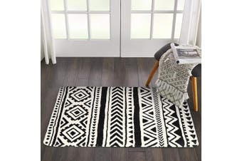 (0.6mX0.9m, Tribal) - HAOCOO Tribal Geometric Area Rugs 2'x3' Non-Slip Boho Style Accent Throw Rugs Super Soft Velvet Small Area Rug Accent Distressed Floor Carpet for Door Mat Entryway Bedroom Decor