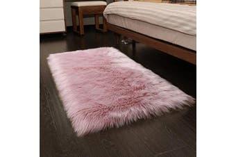 (0.6m x 0.9m Rectangle, Pink) - YOH Luxury Soft Fluffy Rugs Faux Fur Sheepskin Area Rugs Decorative Home Floor Carpet Living Room Princess Bedroom Bedside Kids Nursery Decor Furry Rug, 0.6m x 0.9m, Pink