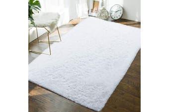 (1.2m x 1.8m, White) - Andecor Soft Fluffy Bedroom Rugs - 1.2m x 1.8m Indoor Shaggy Plush Area Rug for Boys Girls Kids Baby College Dorm Living Room Home Decor Floor Carpet, White
