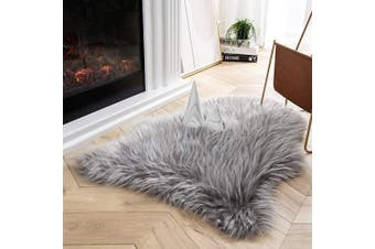 (0.6m x 0.9m, Grey) - Ashler Soft Faux Peacock Feathers Chair Couch Cover Area Rug for Bedroom Floor Sofa Living Room Grey 0.6m x 0.9m