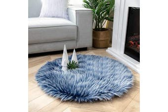 (0.9m x 0.9m Round, Blue) - Ashler Soft Faux Peacock Feathers Chair Couch Cover Area Rug for Bedroom Floor Sofa Living Room Blue- 0.9m x 0.9m Round