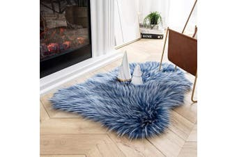 (0.6m x 0.9m, Blue) - Ashler Soft Faux Peacock Feathers Chair Couch Cover Area Rug for Bedroom Floor Sofa Living Room Blue 0.6m x 0.9m