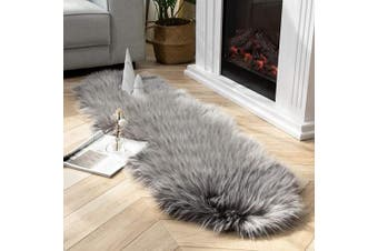 (0.6m x 1.8m, Grey) - Ashler Soft Faux Peacock Feathers Chair Couch Cover Area Rug for Bedroom Floor Sofa Living Room Grey- 0.6m x 1.8m