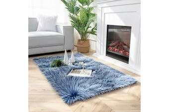 (0.9m x 1.5m Rectangle, Blue) - Ashler Soft Faux Peacock Feathers Chair Couch Cover Area Rug for Bedroom Floor Sofa Living Room Blue-Rectangle 0.9m x 1.5m