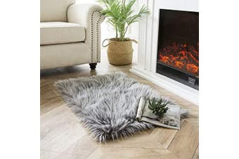 (0.6m x 0.9m Rectangle, Grey) - Ashler Soft Faux Peacock Feathers Chair Couch Cover Area Rug for Bedroom Floor Sofa Living Room Grey-Rectangle 0.6m x 0.9m