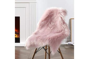 (0.6m x0.9m (sheepskin), Pink) - Dikoaina Classic Soft Faux Sheepskin Chair Cover Couch Stool Seat Shaggy Area Rugs for Bedroom Sofa Floor Fur Rug,Grey,2ftx0.9m
