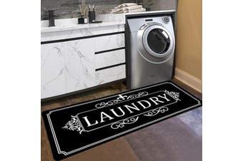 (50cm  x 120cm , Black) - Black Laundry Rug Runner Rug Laundry Room Rug Laundry Floor Mat Durable Washhouse Mat Black Rug Non-Slip Doormat Farmhouse Rug 20x48 Crown