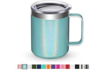 (1 Pack, Mint Shimmer) - Civago Stainless Steel Coffee Mug Cup with Handle, 350ml Double Wall Vacuum Insulated Tumbler with Lid Travel Friendly (Mint Shimmer, 1 Pack)