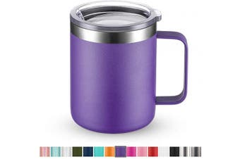 (1 Pack, Purple) - Civago Stainless Steel Coffee Mug Cup with Handle, 350ml Double Wall Vacuum Insulated Tumbler with Lid Travel Friendly (Purple, 1 Pack)