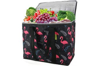 (Black Flamingo) - Large Cooler Bag for Shopping Insulated Reusable Grocery Bag with Zipper Top for Hot Cold Frozen Food Transport Heavy Duty Stands Upright Collapsible