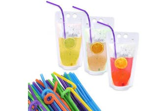 TRUSBER 50PCs Plastic Drink Pouches Bags with Straws, Heavy Duty Hand held Translucent 500ml with 8.1cm Gusset Bottom Stand up Drink Bags Container,Travel Take Out Food Bag Container