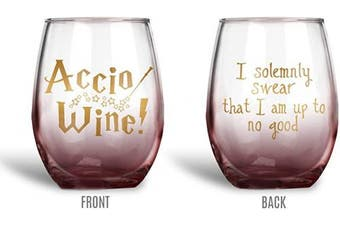 (620ml stemless, Accio Ombre) - BadBananas Accio Wine, I Solemnly Swear I Am Up To No Good 620ml Stemless Funny Wine Glass - Ombre Red With Gold Ink
