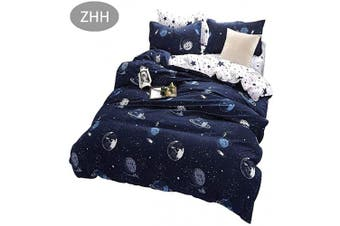 (Queen, Outer Space) - ZHH Outer Space Celestial Galaxy Duvet Cover Set, Comforter Set Luxury Soft Bedding, Space Theme Kids Quilt Cover (Blue, 1 Quilt Coverlet & 2 Pillowcases, Queen Size)