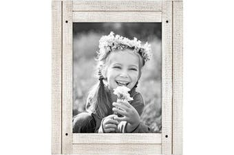 (8x10, Aspen White) - Americanflat Picture Frame in Aspen White with Three Displays Textured MDF and Polished Glass for Wall and Tabletop - 20cm x 25cm