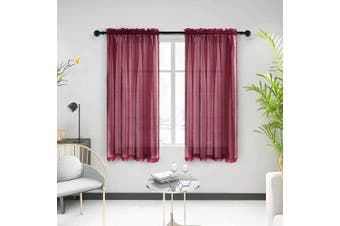 "(130cm W x 160cm L, Dark Red) - Anjee Sheer Window Curtains, Rods Pocket Voile Fabric Drapes/Panels/Treatments for Living Room/Kitchen/Bedroom, 52"" x 63"", Set of 2, Red"