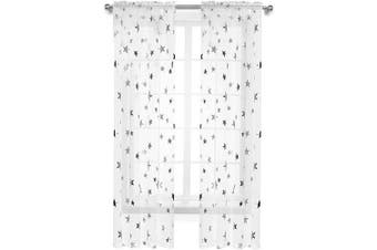 (130cm W x 210cm L, Silver Stars) - Anjee Girls Bedroom Curtain for Starry Night Twinkle Voile Sheer Curtains, 2 Panels Rod Pocket Silver Star Print Curtain Panels Draperies Perfect for Kids/Nursery, W52 x L84 Inches