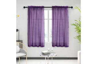 "(130cm W x 160cm L, Purple) - Anjee Sheer Window Curtains, Rods Pocket Voile Fabric Drapes/Panels/Treatments for Living Room/Kitchen/Bedroom, 52"" x 63"", Set of 2, Purple"