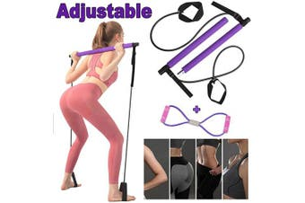 Pilates Bar - Adjustable Portable Pilates Bar Kit with Figure 8 Resistance Band Yoga Pilates Exercise Stick Muscle Toning Bar with Foot Loop for Daily Home Gym Total Body Workout (Purple)