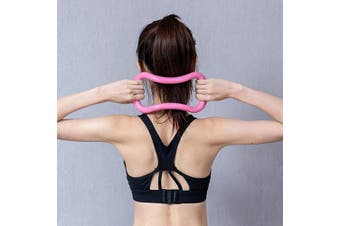 (Pink) - Grand Eletronics Yoga Ring Pilates Training Ring for Back and Leg Pain Home Workouts Gym Exercise for Stretches and Strengthen Chest Thighs Arms Core Yoga Circles