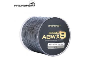 (9.1kg/0.14MM-500M, Grey) - ANGRYFISH Super Power 9 Strands Braided Fishing Line,Cost-Effective Smooth Superline-Extremely Durable-Wonderful Tool for Fishing Enthusiast-Multiple Colours