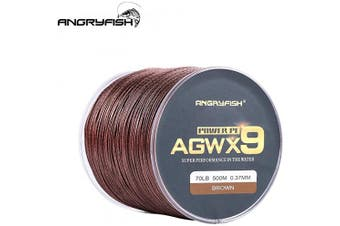 (32kg/0.37MM-500M, Brown) - ANGRYFISH Super Power 9 Strands Braided Fishing Line,Cost-Effective Smooth Superline-Extremely Durable-Wonderful Tool for Fishing Enthusiast-Multiple Colours
