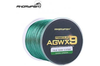 (32kg/0.37MM-500M, Green) - ANGRYFISH Super Power 9 Strands Braided Fishing Line,Cost-Effective Smooth Superline-Extremely Durable-Wonderful Tool for Fishing Enthusiast-Multiple Colours